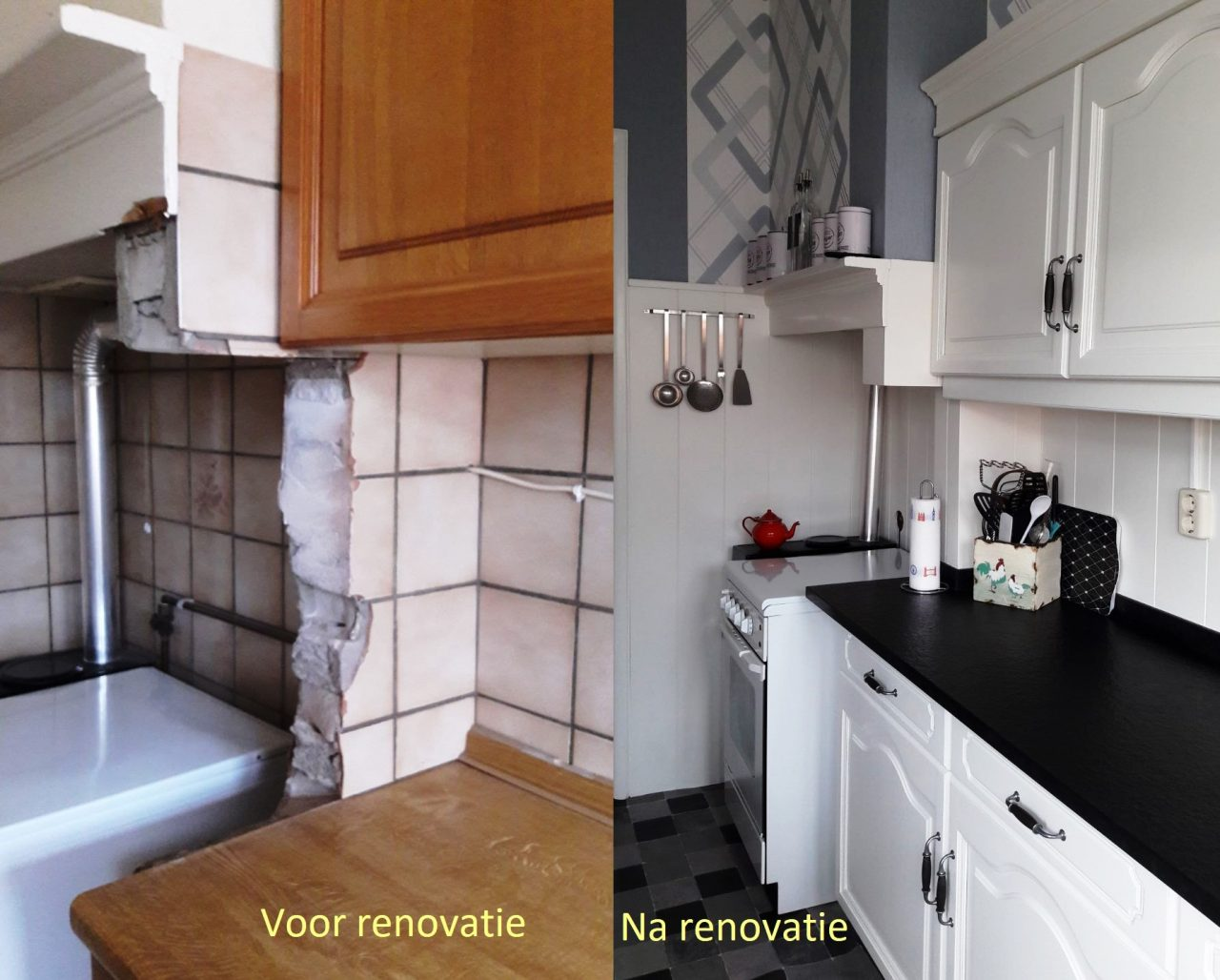 Keuken renovatie met een granieten werkblad, een nieuwe nostalgische kraan en een vlakinbouw rvs spoelbak.